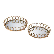 ELK Home 3200-042/S2 Loop Mirrored Round Trays (Set of 2)