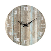 Rustic Roman Numeral Wooden Outdoor Wall Clock - Sterling 128-1009