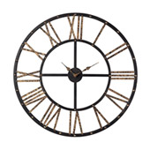 Transitional Roman Numeral Metal Framed Open Back Wall Clock - Sterling 129-1024