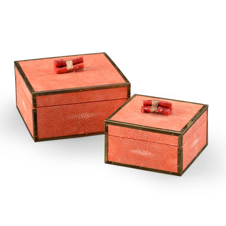 Wildwood 300888 Coral Boxes (Set of 2) - Red