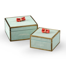 Wildwood 300889 Coral Boxes (Set of 2) - Green