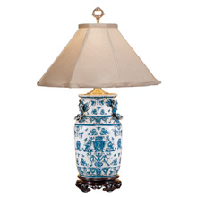 Wildwood 5221 Blue White With Dragons Table Lamp