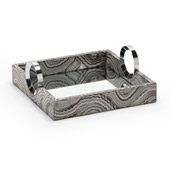 Grey Wood Handled Tray - Wildwood 300586