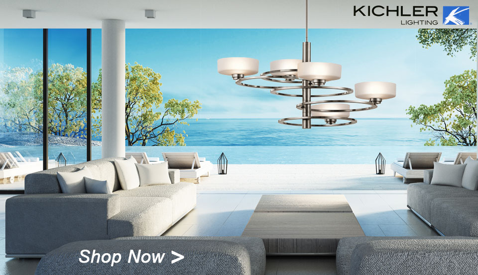 Aleeka Chandelier, Model 43365CLP made by Kichler, has concentric rings orbiting around a slim center column. Oval glass globes complete it.